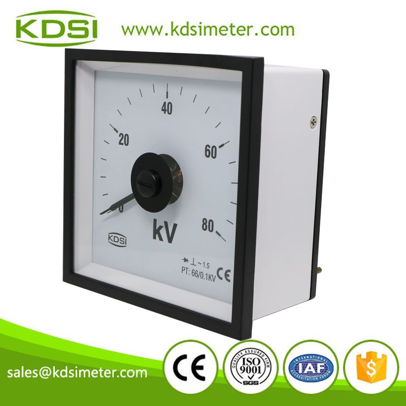 Square type marine meter BE-96W AC80kV 66-0.1kV analog panel wide angle rectifier voltmeter