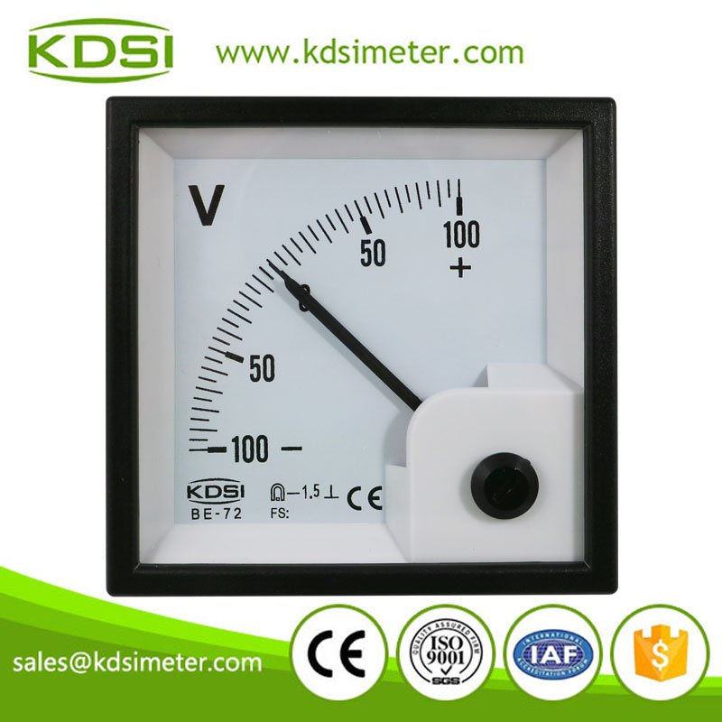 Factory direct sales BE-72 72*72 DC+-100V panel analog dc voltmeter zero in the center