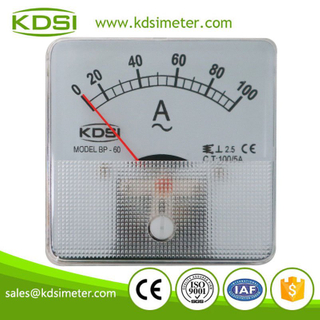 Factory direct sales BP-60 AC100/5A 60*60mm analog ac panel mount ammeter