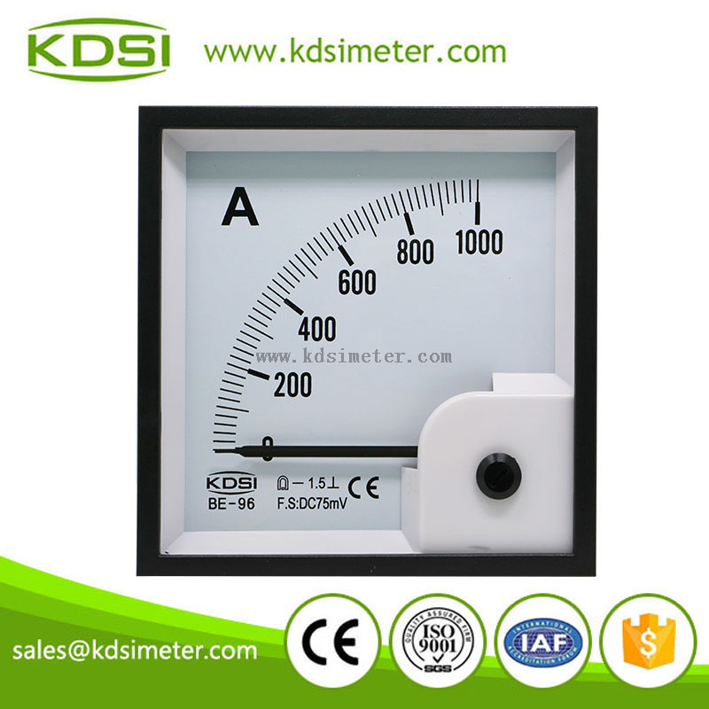 Durable in use BE-96 DC75mV 1000A analog ammeter dc amps