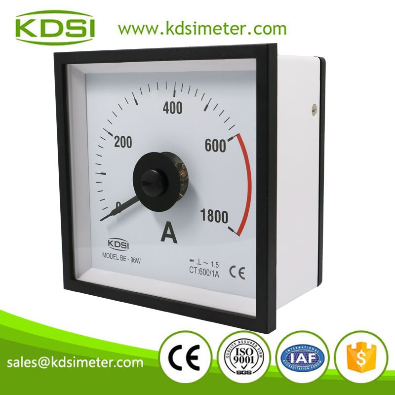 Marine meter wide angle BE-96W AC600/1A 3times overload ac rectifier ammeter for CT