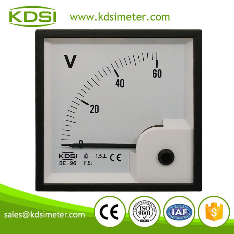 Safe to operate BE-96 96 * 96 DC60V panel analog voltmeter