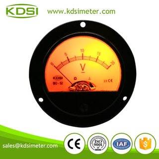 Round type BO-52 DC20V analog yellow backlighting panel voltage indicator