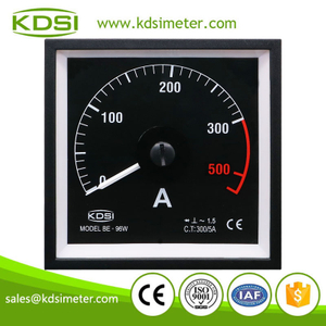 China Supplier BE-96W AC300/5A black background analog ac amp panel meter